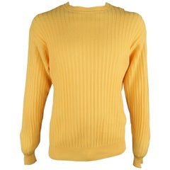 BRIONI Size 40 Yellow Knitted Linen / Silk Crew-Neck Pullover Sweater