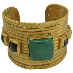 Vintage Chanel green Gripoix Glass Byzantine Statement Bracelet Cuff