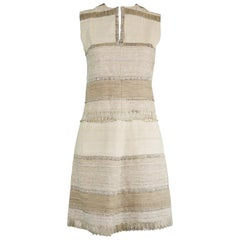 Vintage 1960s Textured Linen & Metallic Cocktail Party Sleeveless Dress