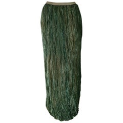 """DKNY """"New"""" Green Metalic Fiber, Pleated Maxi Skirt - Unworn"""