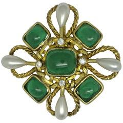 Vintage Chanel Green Poured Glass Gripoix byzantine cross Brooch