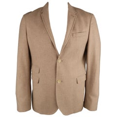 NEIL BARRETT XL Camel Solid Wool Notch Lapel Sport Coat