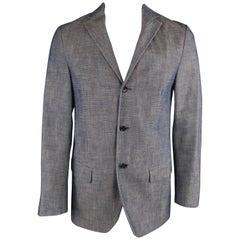 JIL SANDER 40 Indigo Textured Cotton Notch Lapel Sport Coat