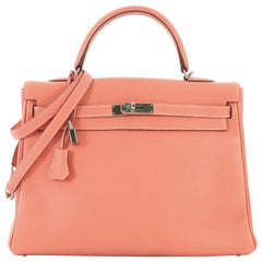 Hermes Kelly Handbag Crevette Clemence with Palladium Hardware 35