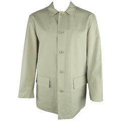 JOHN VARVATOS XL Khaki Solid Cotton Belted Coat