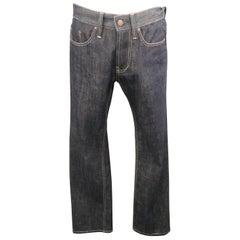 BOTTEGA VENETA Size 28 Indigo Solid Denim 30 Zip Fly Jeans