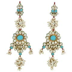 Mughal Style Indian Pearl Bead and Turquoise Dangle Earrings