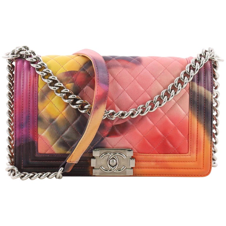 8c4eb59e8d7e6f Chanel Flower Power Boy Flap Bag Quilted Lambskin Old Medium For Sale
