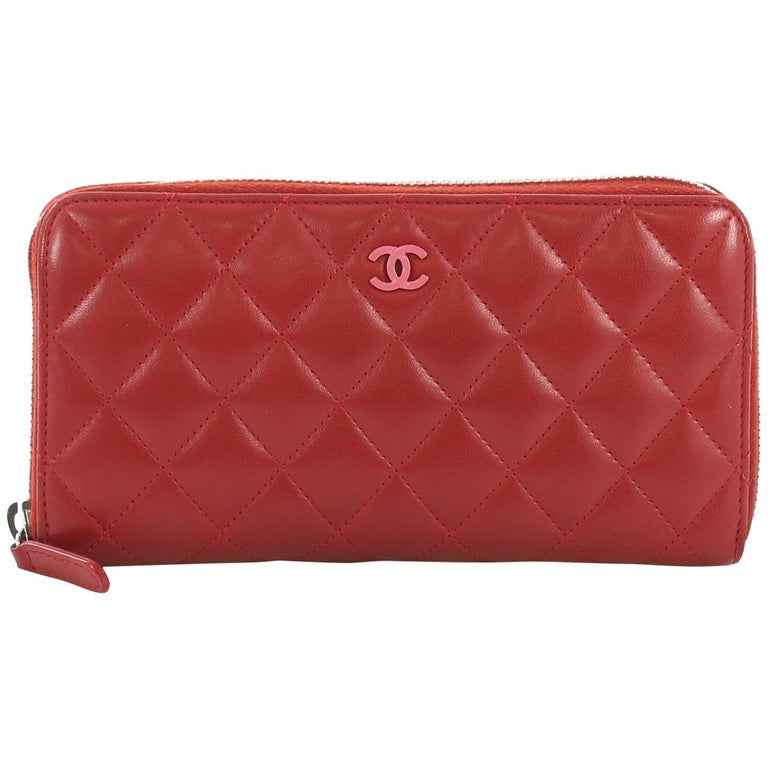 b59768168455 Chanel Zip Around Wallet Quilted Lambskin Long For Sale at 1stdibs