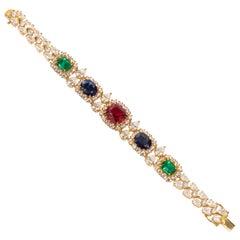 Real Looking Multi Color Faux Precious Gems CZ Vermeil SterlingBracelet