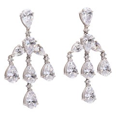 Elegant CZ Sterling Silver Antique Style Dangling Earrings
