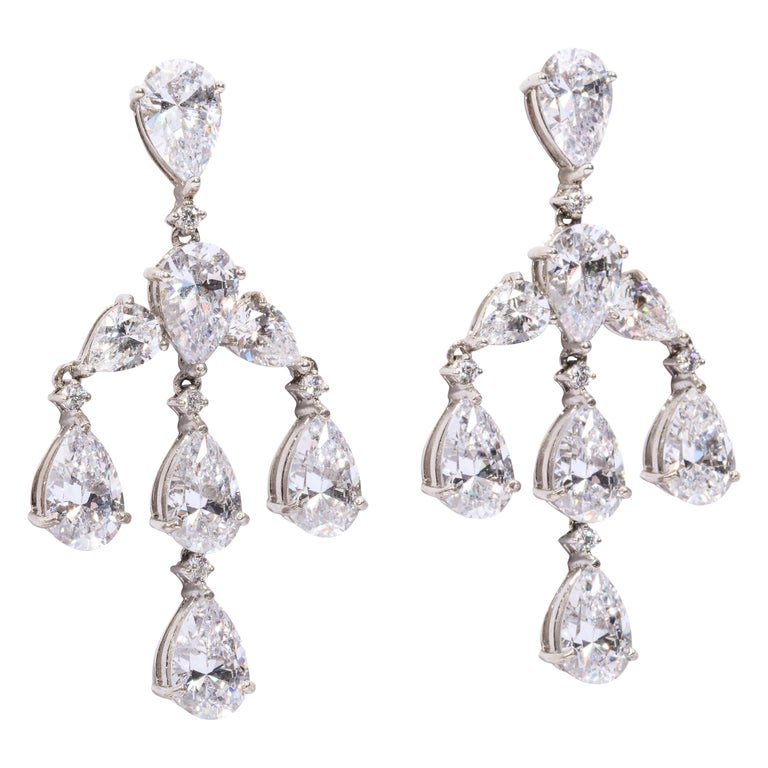 Elegant CZ Sterling Silver Antique Style Dangling Earrings For Sale