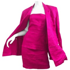 Gianni Versace for Genny 1990s Size 8 / 10 Hot Pink Linen Dress and Jacket Set