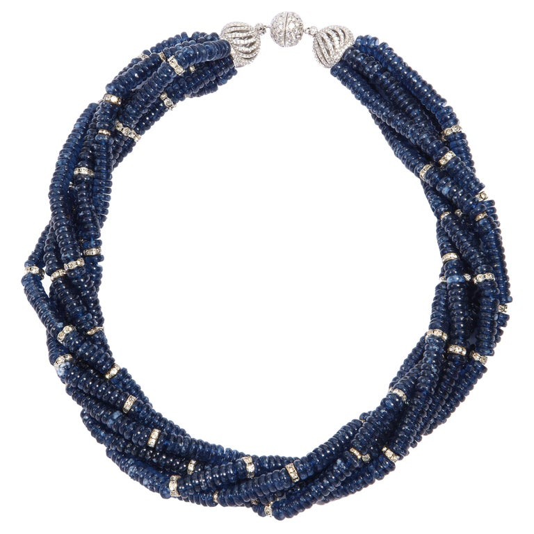 Vintage Bergdorf Goodman Chic Faux Sapphire Crystal Rondel Twist Collar Necklace For Sale