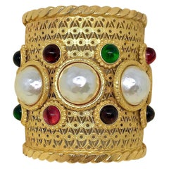 Circa 1980s Deanna Hamro Gold-Plated Faux-Pearl and  Cabochon Jeweled Cuff