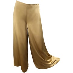 Reem Acra Liquid Gold Silk Size 6 / 8 Wide Leg Metallic Trousers Pants