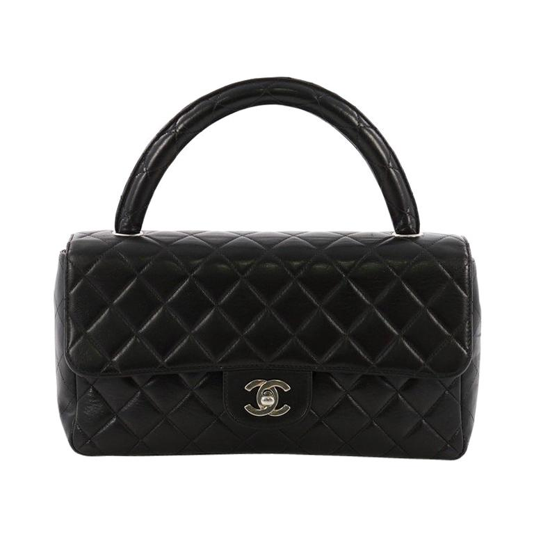 0c209018cfa7 Chanel Vintage Twin Top Handle Flap Bag Quilted Lambskin Medium For Sale at  1stdibs