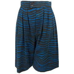 Yves Saint Laurent tiger stripe blue and brown high waist full leg shorts 1980s
