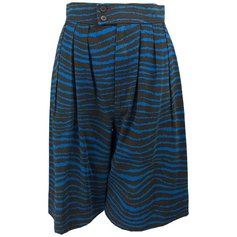 e37066527ab Yves Saint Laurent tiger stripe blue and brown high waist full leg shorts  1980s For Sale