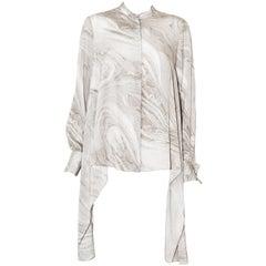Alexander McQueen Silk Grey Marble Design Asymmetric Blouse