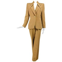 Givenchy Couture Gold Silk Ottoman Trouser Suit 1990s
