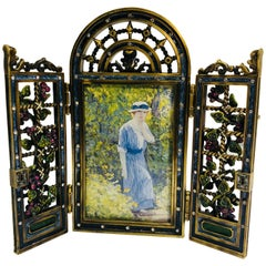 Opulent Jay Strongwater English Garden Jeweled Enamel Trellis Picture Frame