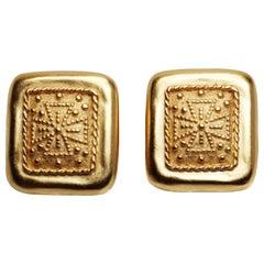 Maltese Cross Gold Earrings
