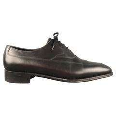 JOHN LOBB Size 10 Black Leather Cap Toe Lace Up Shoes