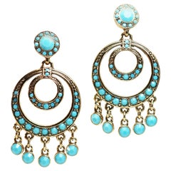 Kenneth Jay Lane Turquoise Chandelier Earrings