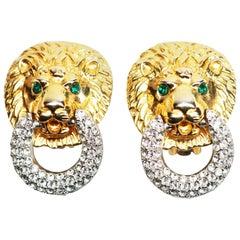 Kenneth Jay Lane Crystal Encrusted Lions Head Earrings