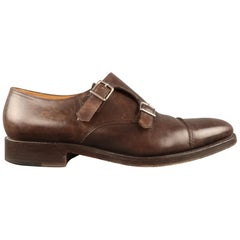 JOHN LOBB Size 10 Brown Antique Leather Double Monk Strap Loafers