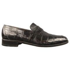 GRAVATI Size 10 Black Embossed Leather Slip On Loafers