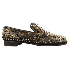 CHRISTIAN LOUBOUTIN Size 9.5 Black Spikes Leather Slip On Loafers
