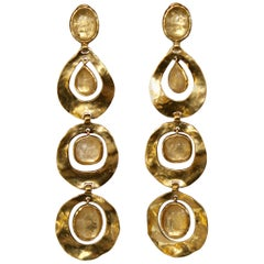 Goossens Paris Gold and Rock Crystal Statement Clip Earrings
