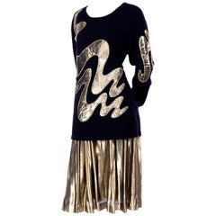 1980s Vintage Angora Abstract Applique Sweater Top & Gold Lame Metallic Skirt