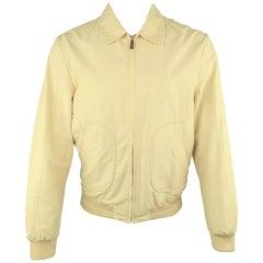 PAL ZILERI 40 Cream Cotton Blend Zip Up Jacket