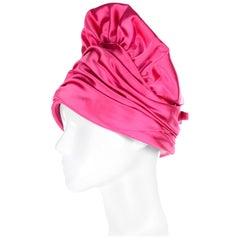 Pink Satin Structured Designer Vintage Statement Hat Nicholas Ungar Boutique