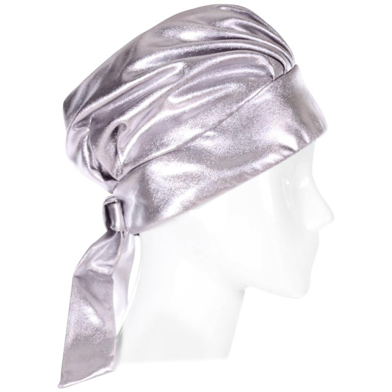 Silver Metallic Turban Style Hat from Nicholas Ungar Boutique For Sale