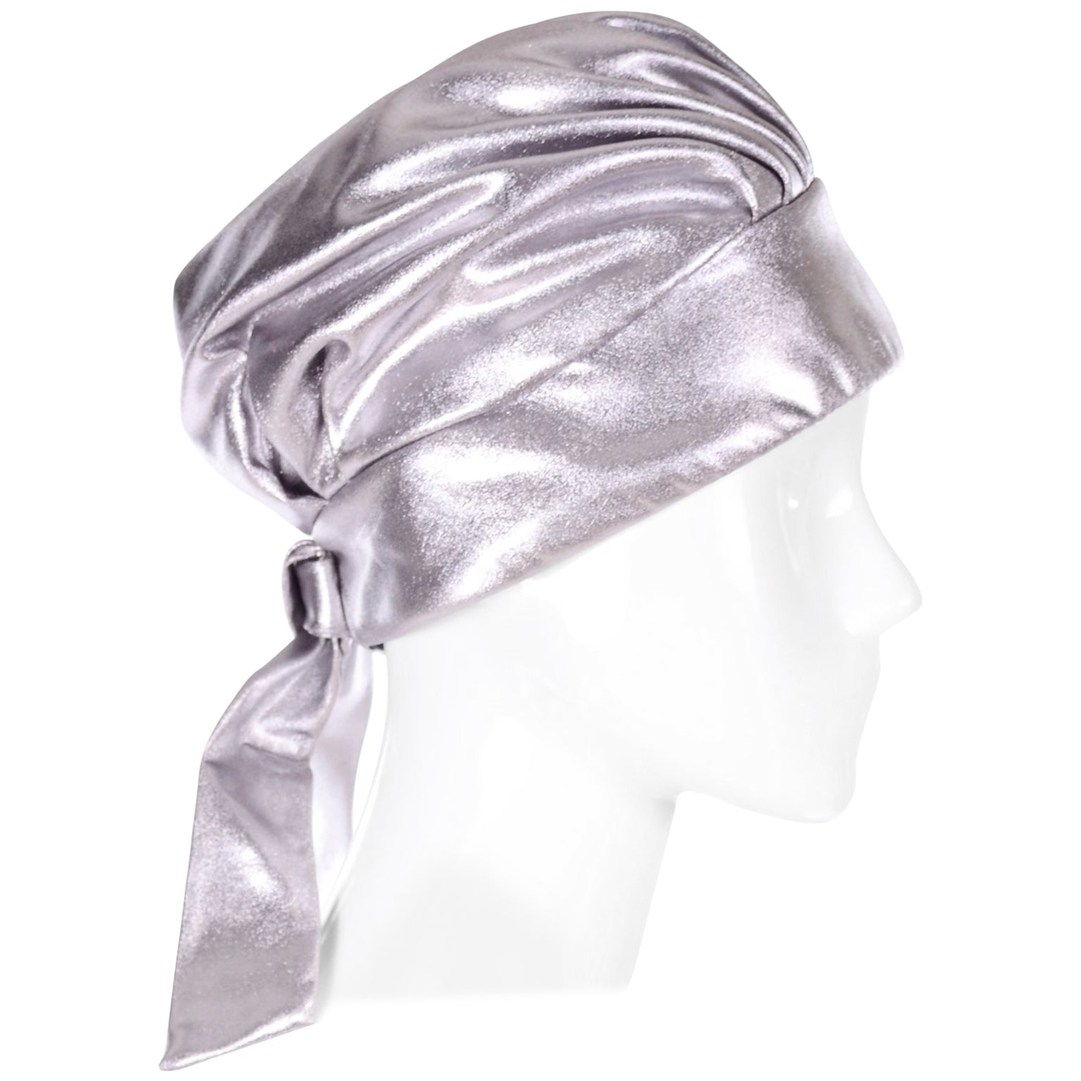 Silver Metallic Turban Style Hat from Nicholas Ungar Boutique