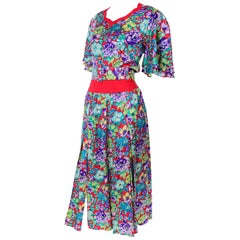 Vintage Diane Freis Silk Red Colorful Floral Dress With Belt