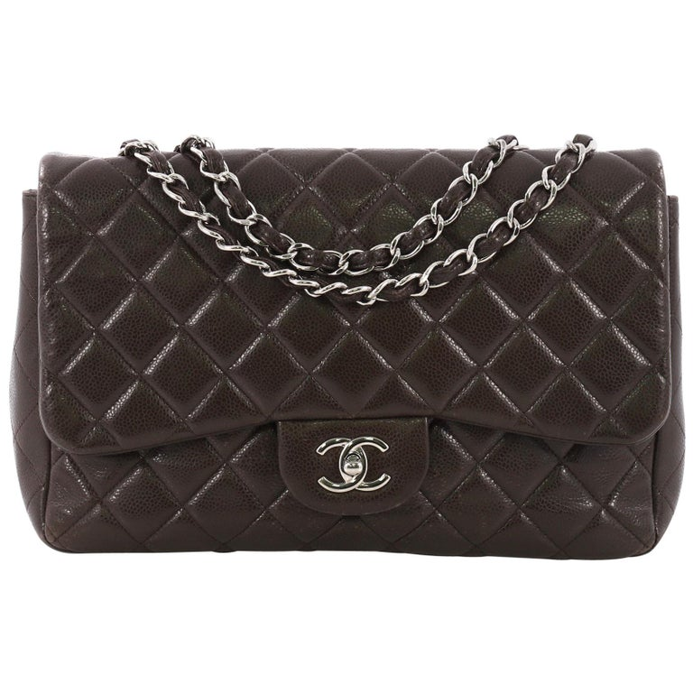 76dcafe2239a Chanel Classic Single Flap Bag Quilted Caviar Jumbo For Sale at 1stdibs