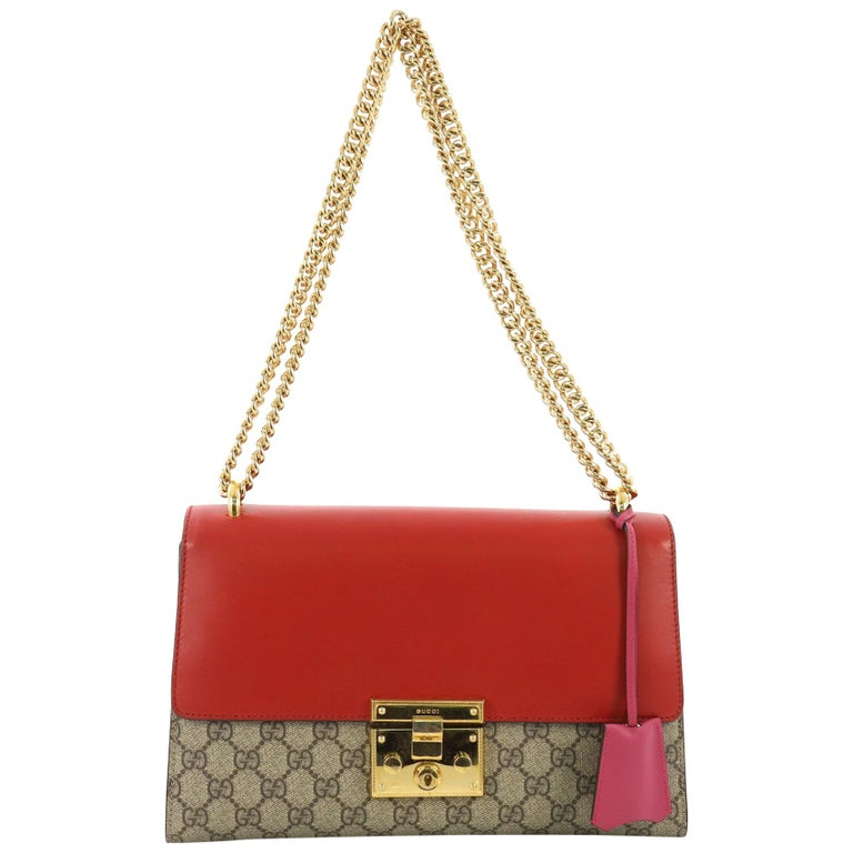 f4b84e09fd4 Gucci Padlock Shoulder Bag GG Coated Canvas and Leather Medium For Sale