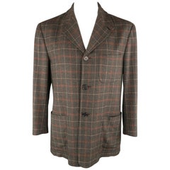 KITON 40 Charcoal Plaid Cashmere Notch Lapel Sport Coat