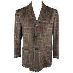 KITON 40 Charcoal Plaid Cashmere Notch Lapel Sport Coat