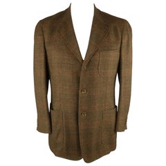 LORO PIANA 42 Brown Plaid Cashmere Notch Lapel Sport Coat