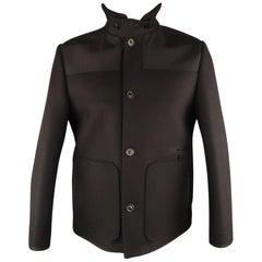 ACNE JEANS 42 Black Wool Patch Pockets Jacket
