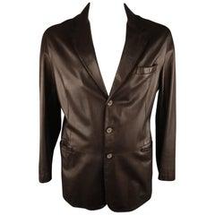 GIORGIO ARMANI 44 Brown Leather Notch Lapel Coat