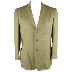 LORO PIANA 42 Green & Blue Plaid Cashmere Notch Lapel Sport Coat
