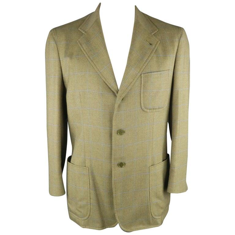 LORO PIANA 42 Green & Blue Plaid Cashmere Notch Lapel Sport Coat For Sale