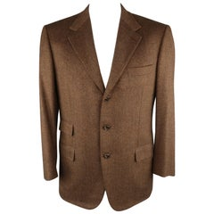 BRIONI 42 Regular Brown & Black Heather Wool / Cashmere Notch Lapel Sport Coat